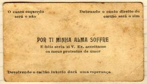 Cartão antigo da paquera