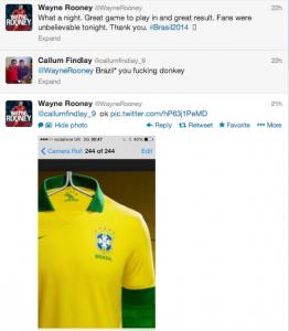 Twitter do Rooney com a camisa da seleção brasileira