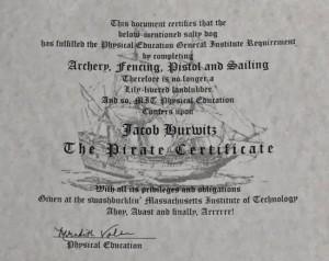 Certificado de pirata do MIT