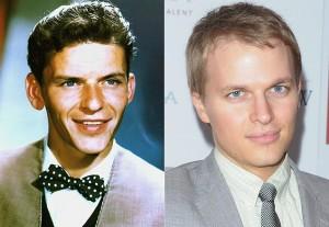 Frank Sinatra à esquerda, e Ronan Farrow à direita