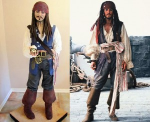 Bolo no formato de personagem pirata de Johnny Depp