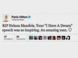 Tuíte de Paris Hilton sobre Mandela