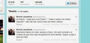 Twitter de Bruno Laurence sobre o assalto