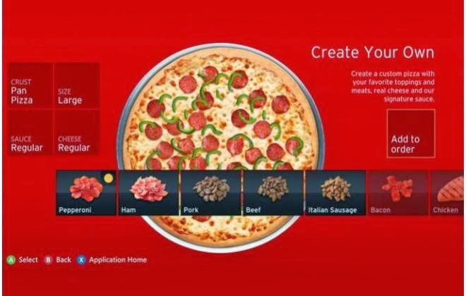 Aplicativo da Pizza Hut no Xbox 360