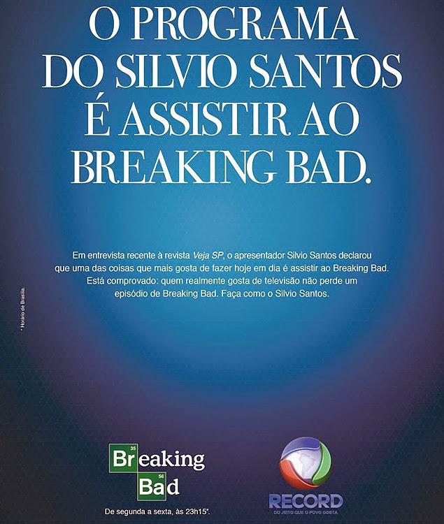 Anúncio da série Breaking Bad na Record