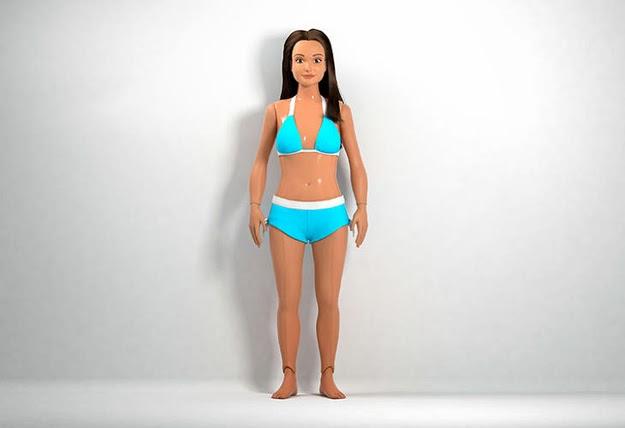 Boneca Barbie com as proporções médias de uma adolescente americana de 19 anos