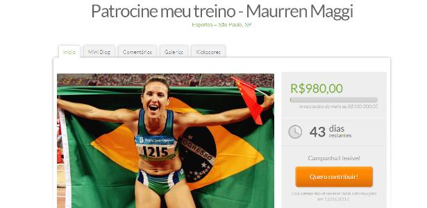 Maurren Maggi segura bandeira brasileira em site de vaquinha