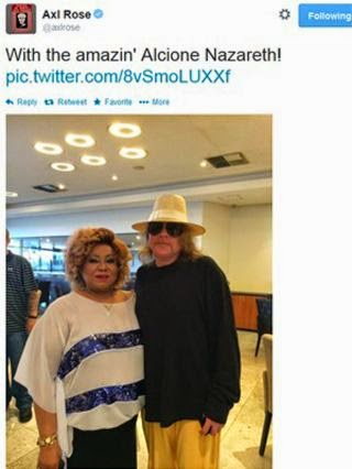 Alcione e Axl Rose no Twitter do cantor americano