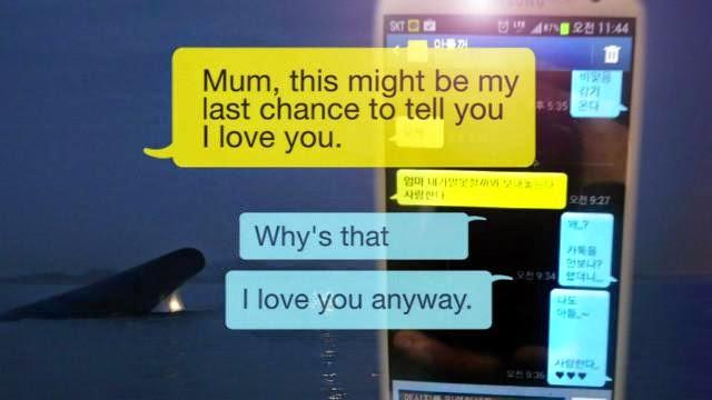 SMS com mensagem de despedida de aluno que estava em balsa que virou na Coreia do Sul