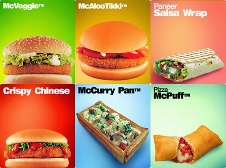 Menu vegetariano do McDonald's