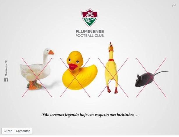 Página do Fluminense com pato, ganso, frango e rato