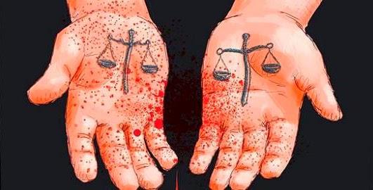 Ilustração com mãos sujas de sangue e desenhos de balança da Justiça