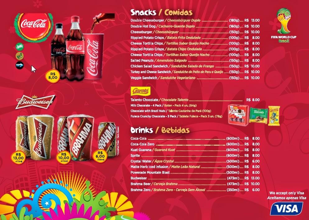 Preços de comidas e bebidas nos estádios da Copa