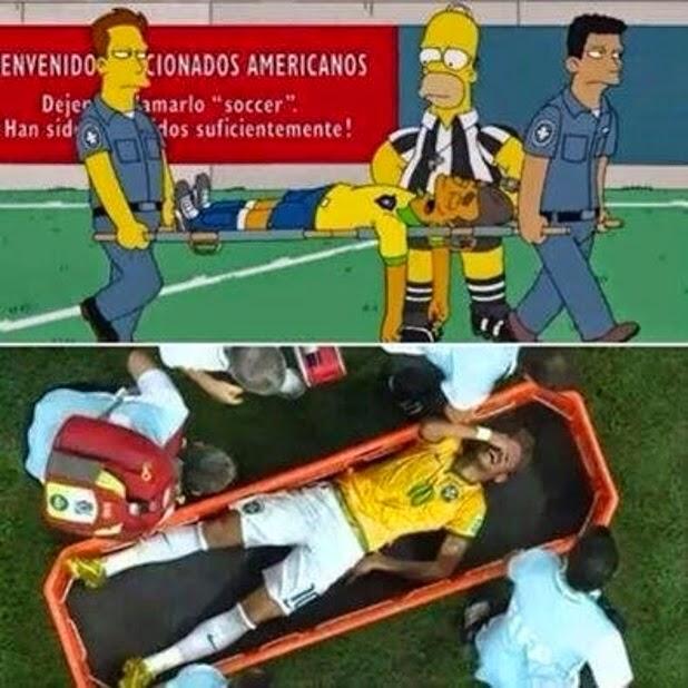 Jogador levado de maca na série 'Os Simpsons' é comparado a Neymar