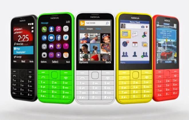 Nokia 225 em cinco cores