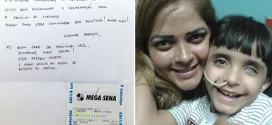 Anônimo doa bilhete premiado da Mega-Sena para menino à espera de transplante