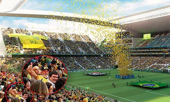 Lula e Andrés Sanchez aparecem em ilustração do Itaquerão no site da Fifa