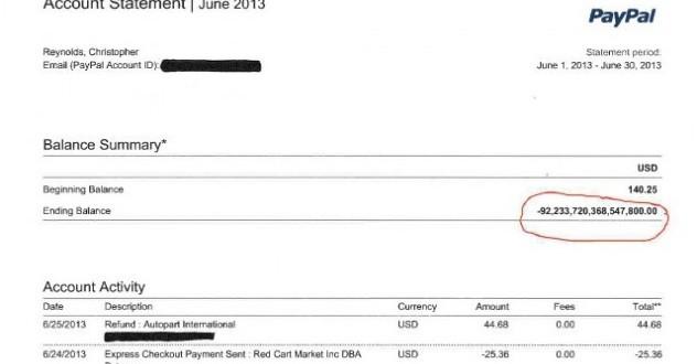 PayPal credita US$ 92 quatrilhões em conta de usuário por acidente
