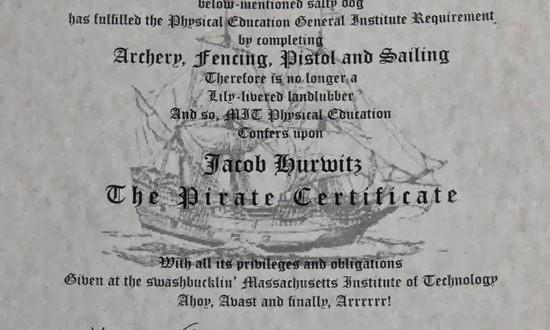 MIT oferece certificado de pirata para estudantes