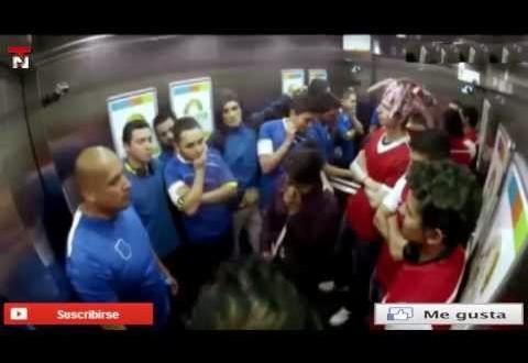 Pegadinha simula briga entre torcidas rivais dentro de elevador na Colômbia