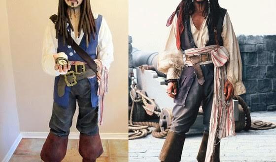 Confeiteira amadora faz bolo no formato de personagem pirata de Johnny Depp