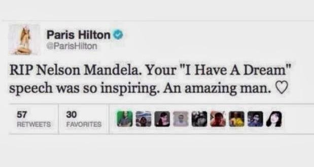Tuíte em que Paris Hilton confunde Mandela com Martin Luther King no Twitter é falso