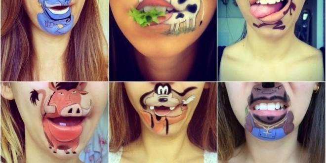 Maquiadora cria personagens infantis em seu próprio queixo