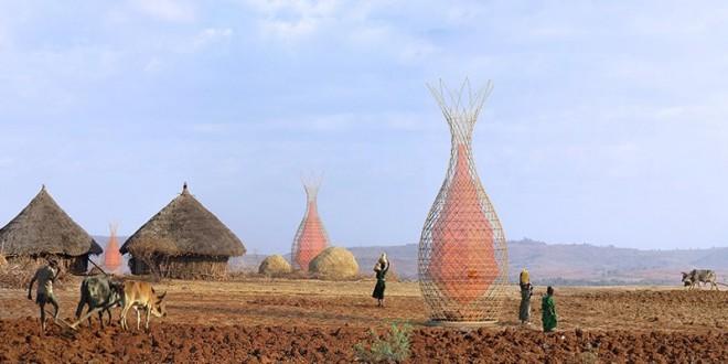 Escultura que parece árvore gera água potável a comunidades