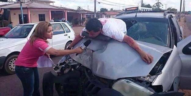 Repórter entrevista falsa vítima de acidente e vira piada na internet