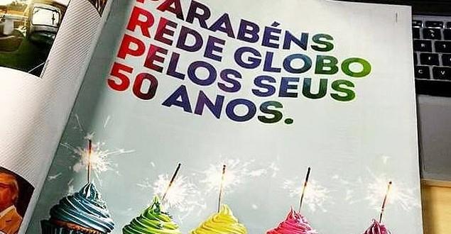 SBT paga anúncio parabenizando os 50 anos da Globo